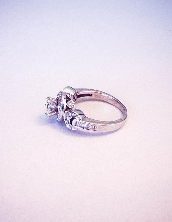 linked 18k white gold engagement ring