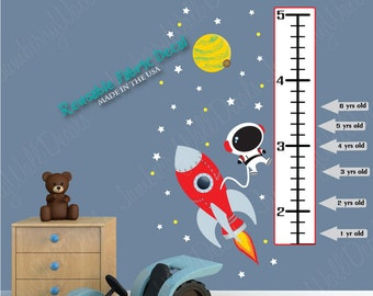 Repositionable Space Wall Decal Growth Chart, Planet with Moon, Rocket, Stars, (Mini Rocket Mission Growth Chart)