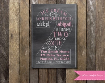 Chalkboard Second Birthday Invitation, Second Birthday Invitation, Printable Invitation, Chalkboard Invitation, Pink Invitation, Blue