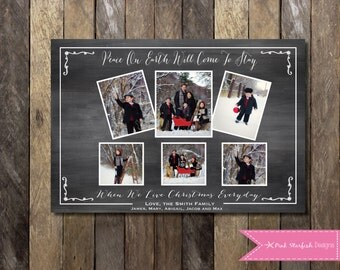 Chalkboard Christmas Card, Holiday Card, Photo Christmas Card, Christmas Card, Chalkboard, Chalkboard Holiday Christmas Card, Photo Collage
