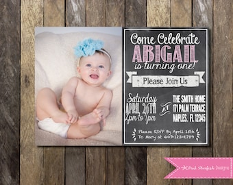 Chalkboard First Birthday Invitation, First Birthday Invitation, Chalkboard Invitation, Chalkboard Invite, Birthday Invitation, Digital File