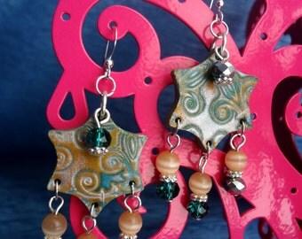 Emerald Green and Peach Polymer Clay Mokume Gane Beaded Chandelier Earrings
