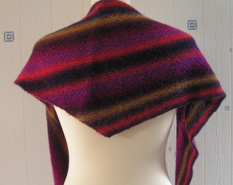 multicolor shawl, hand knitted, wool