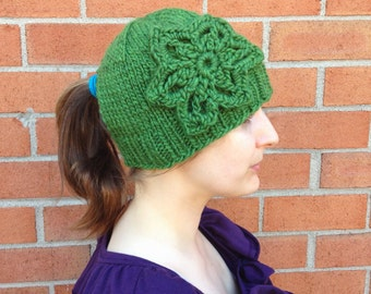 Green Mohair and Wool Ponytail Hat