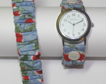 Button Band Watch Band - Blue with Poppies