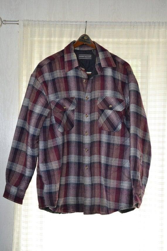 David Taylor Insulated Flannel Shirt Work Jacket Shadow Plaid