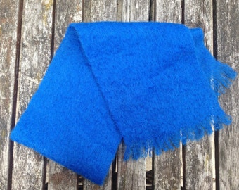 Vintage 1950's Mohair Scarf- ELECTRIC BLUE- Glendream Mohair