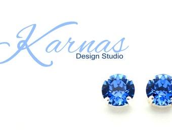 CAPRI BLUE Swarovski 8mm Stud Earrings *Pick Your Setting *Karnas Design Studio *Free Shipping*