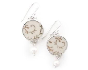 Wedding dangle earrings, Old Porcelain Jewel, Broken China Jewelry