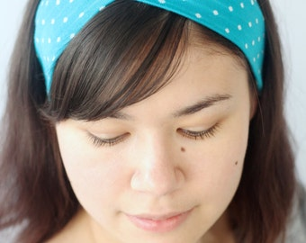 Turban Headband, Stretchy Turquoise Workout Yoga Headwrap, Polkadot Turband