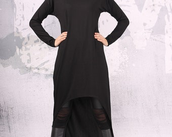Black dress, asymmetric dress, long dress, maxi dress, black party dress, plus size dress, tunic dress, hoodie dress, urbanmood -UM-CL008-VL