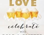 Bridal Shower Cake Topper DIY - Wedding Shower Cake Topper Bachelorette Custom Personalized Gold Glitter Letters (EB3055) set of 6 stickers