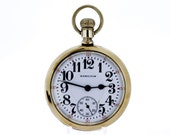 Hamilton Watch CO Pocket Watch with Floral Pattern Gold Filled