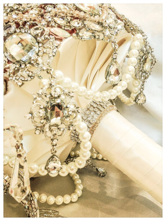 wedding bouquets with bling champaign ivory vintage gatsby wedding brooch bouquet deposit 8537