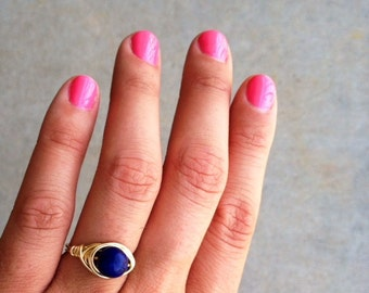 Sodalite Ring / Custom Fit / Wire Wrapped Ring / Gemstone / Healing Stone