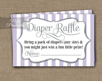 Lilac Diaper Raffle Tickets -  Purple Baby Shower Game - Printable Lavender Raffle Tickets - Neutral Baby Diaper Shower Instant Download LGL