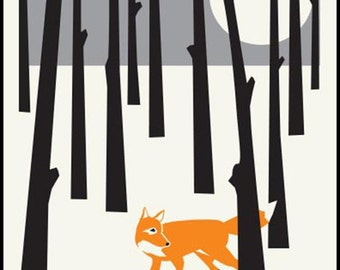 Fox in the Forest- charming wall art nature print, by Holiday House Design