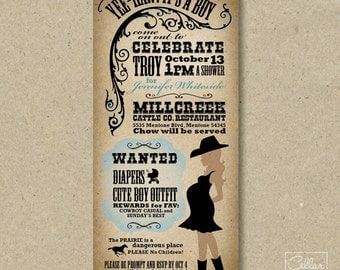 Yee Haw Western Themed Baby Shower Invitation for Boy or Girl