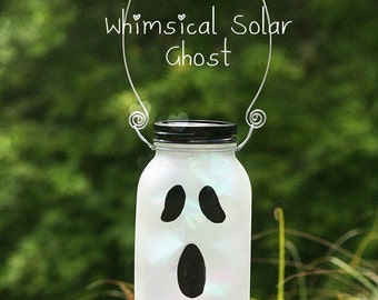 Solar Mason Jar - Halloween Decorations - Solar Ghost - Halloween Decor - Fall Decor - Halloween Light - Halloween Mason Jars