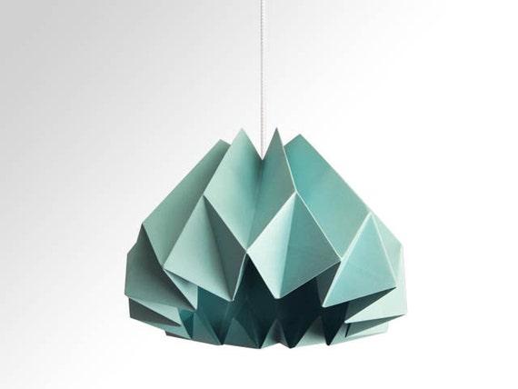 articles similaires citrouille origami papier abat jour turquoise sur etsy. Black Bedroom Furniture Sets. Home Design Ideas