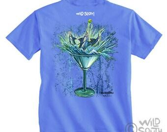 Marlin Fish Shirt Design - Marlintini - Hand Screen Printed on Blue Shirt  depicts original painting by Kevin Curran Fish Shirt Marlin Shirt