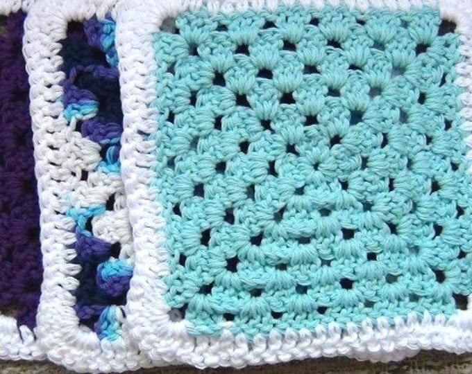 Crocheted Cotton Dishcloth - Set of 3 - Purple, Blue, Variegated