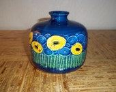 Pretty 1960s Abstract Floral Design Blue Vase Japan 1960s