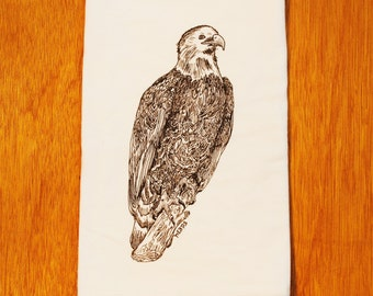Bald Eagle Screen Printed Flour Sack Towel  - Cotton Dish Towel - Wedding Shower Housewarming or Christmas Gift -  Bird of Prey