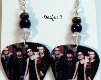 U2 ROCK Band Guitar Pick Beaded Earrings - Handmade in USA
