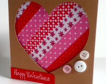 Handmade large heart Valentine card 'filled with lots of love' shabby chic style-eco recycled *exclusive to etsy*