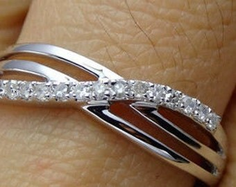 Triple Shank Diamond Crossover Gold Band