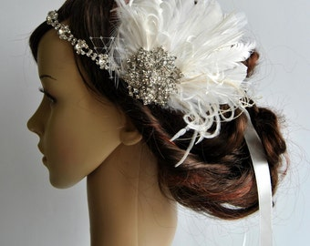 Rhinestone flapper headpiece ,Great Gatsby  flapper Headpiece, Wedding Bridal 1920s Headpiece ,Rhinestone headband, Ivory Feather Fascinator