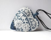 Heart pendant, fabric jewelry  White handmade lace, blue denim linen cloth. Recycled fabric. For denim loves. FREE SHIPPING