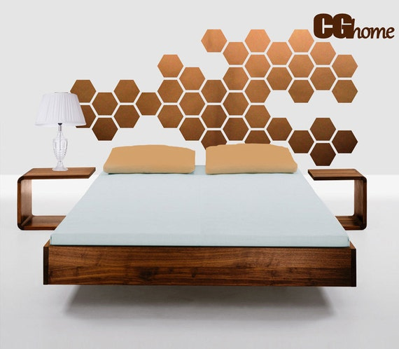 copper HEXAGON geometric honeycomb WALL decal vinyl at home