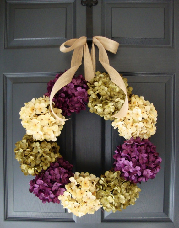 Hydrangea Wreath Fall Wreaths Front Door Wreaths Spring