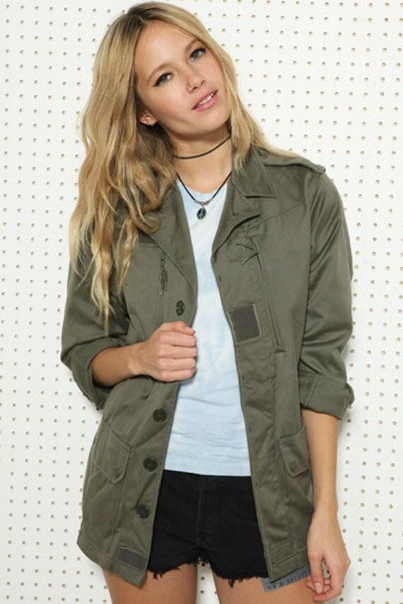 vintage women 39 s french f1 olive khaki jacket coat surplus. Black Bedroom Furniture Sets. Home Design Ideas