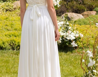 Designer Wedding Dress Bohemian Wedding dress Made from Chiffon, French  lace