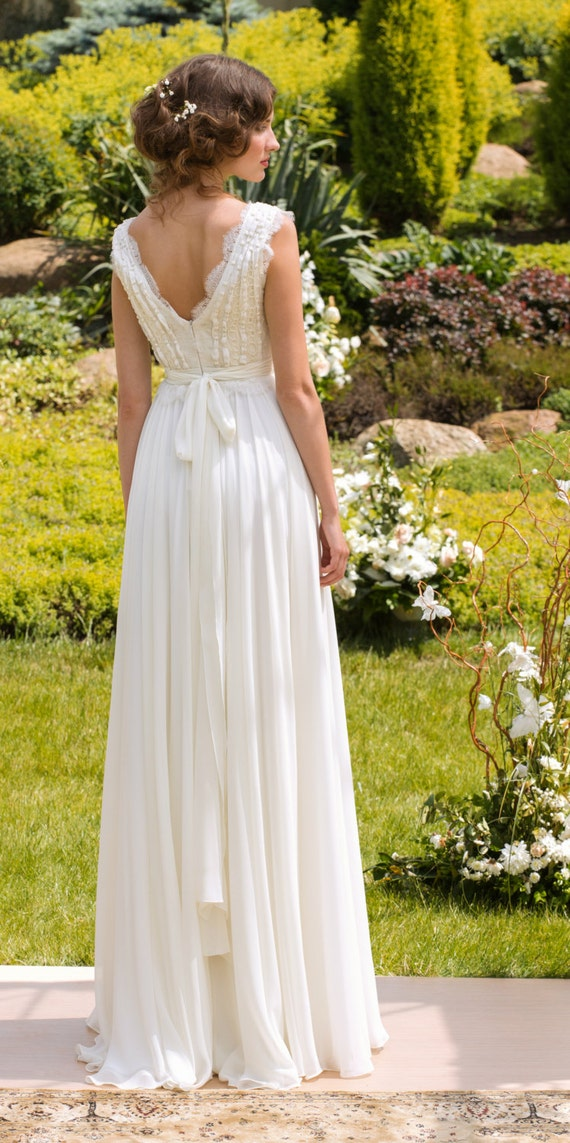 Designer Wedding Dress Bohemian Wedding gown Made from Chiffon, French lace , natural silk and pearls