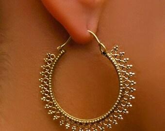 Brass Earrings - Brass Hoops - Gypsy Earrings - Tribal Earrings - Ethnic Earrings - Indian Earrings - Tribal Hoops - Indian Hoops (EB21)