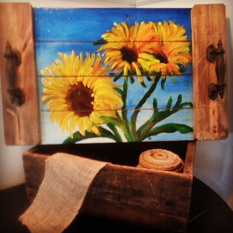 Sunflower Serving Tray Repurposed Wood Handpainted Flower