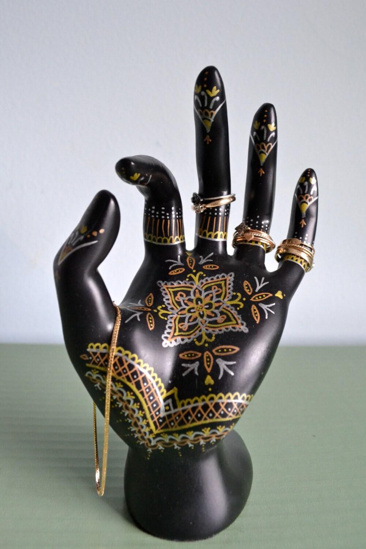 Henna Hand Jewelry Display - Hand-Painted Ring Holder, Jewelry Storage,  Dresser Decoration