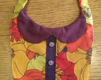 Collared Orange Red Yellow and Brown Flower Special Occasion Baby Bib