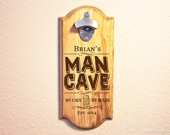 Personalized Wall Mount Beer Opener, bottle opener ~ Man Cave, Fathers Day, Christmas, Gift for him, Gift for dad, BIrthday, sports