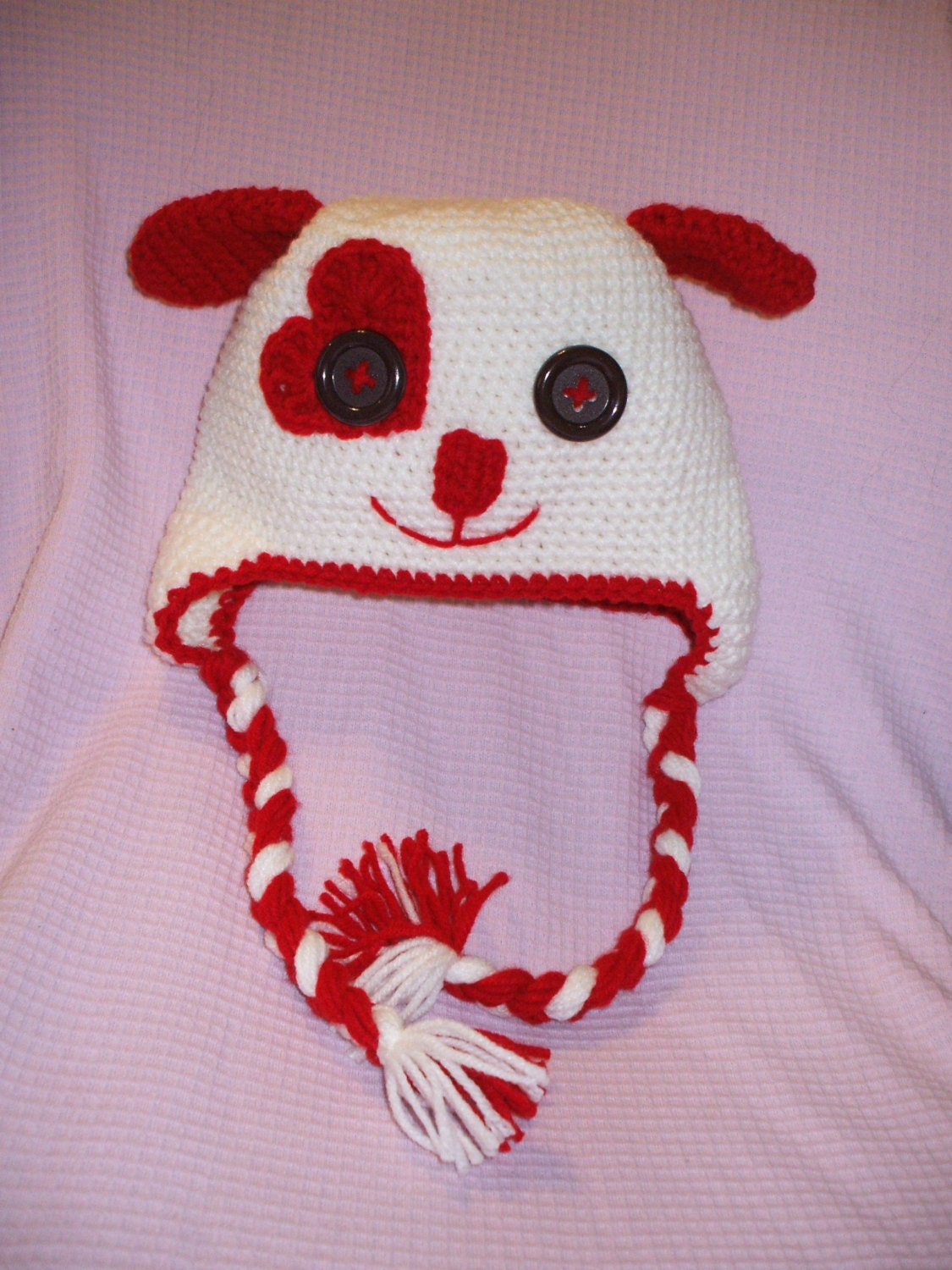Crochet Valentine Hat : Puppy Valentine Hat Crochet Puppy Hat by CrochetionsbyShell
