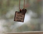 "antique copper and glass pendant w/ chain.  ""all my love, all my life"""