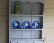 Vintage Solid Pine Wall Shelves With Two Drawers - Hand Painted Using Farrow & Ball Pavilion Grey