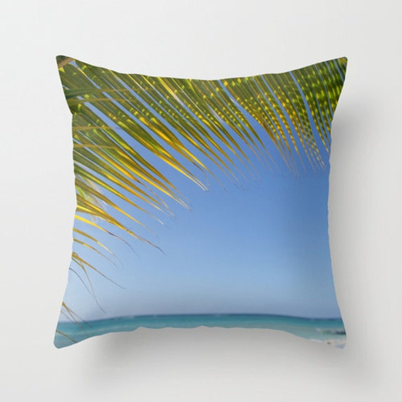 Palm Tree Pillow Cover Ocean Decor Blue and Green Beach