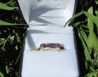 Channel Cut Amethyst Ring 14K Yellow Gold Size 7 1/4