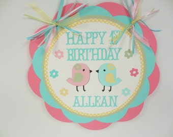 Pastel Bird Chick Door Welcome Sign Banner Birthday Party Shower Pink Yellow Aqua Green