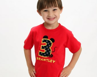 Boy's Mouse Birthday Shirt with Number and Embroidered Name
